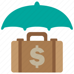 business, currency, finance, financial, insurance, money, umbrella icon