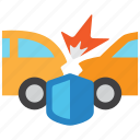 accident, car, collision, flame, hazard, insurance, risk icon