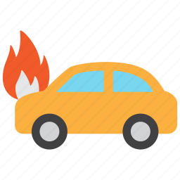 accident, car, fire, flame, hazard, insurance, risk icon