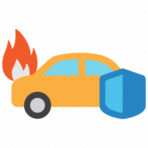 accident, car, fire, flame, hazard, risk, vehicle icon