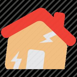 disaster, earthquake, hazard, house, insurance, quake, risk icon