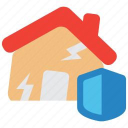 earthquake, hazard, home, insurance, quake, risk icon