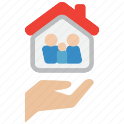 care, family, hand, hands, home, house, life icon