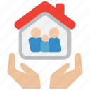 care, family, hand, home, house, insurance, life icon