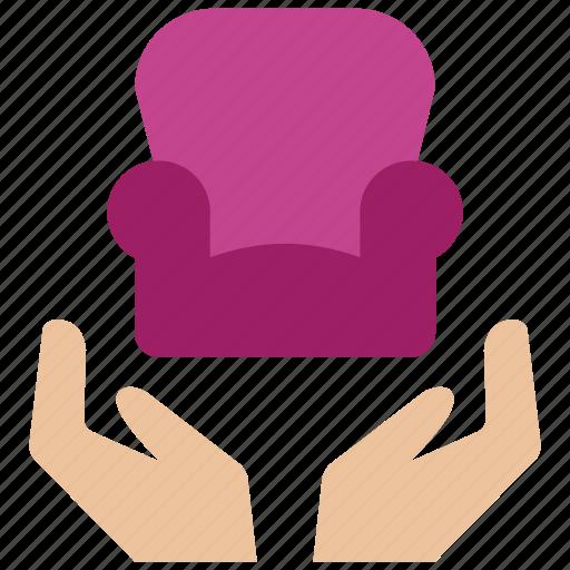 care, furniture, home, house, interior, lounge, sofa icon
