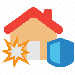 bomb, bombing, explode, explosion, insurance, property, protection icon