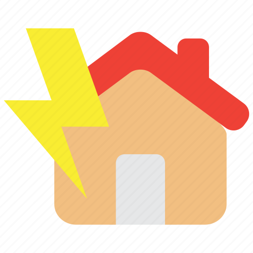 accident, hazard, home, insurance, lightning, property, risk icon