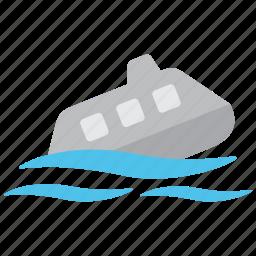 boat, hazard, marine, sea, ship, sink, sinking icon