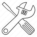 construction, options, screwdriver, settings, spanner icon