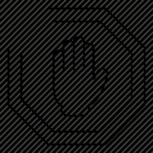 error, halt, hand, sign, stop, traffic, warning icon