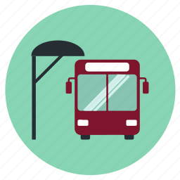 bus, road, stop, transport icon