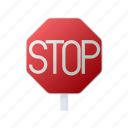 cartoon, danger, road, safety, sign, stop, traffic icon