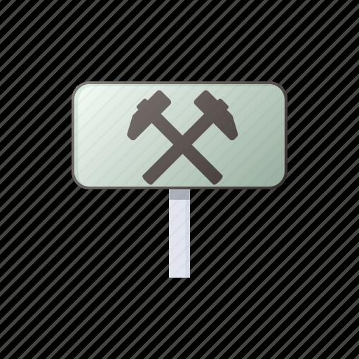 cartoon, hammer, metal, repair, service, sign, tool icon