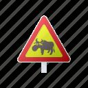 animal, cartoon, deer, elk, road, sign, warning icon