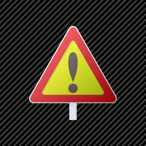 cartoon, caution, danger, road, sign, traffic, triangle icon