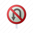 cartoon, forbid, no, sign, traffic, turn, u icon