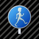 cartoon, man, pedestrian, road, safety, sign, walk icon