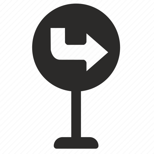 road, sign, turn icon