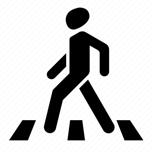 crossing zone, crosswalk, man, pedestrian, pedestrian crossing, road sign, street lines, walk, walk here, walk zone icon