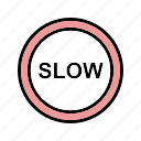 attention, danger, slow icon