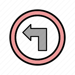 left, left turn, turn icon
