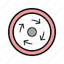 circle, compulsory, roundabout, sign icon