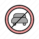 automobile, no entry, no entry for vechicle, sign icon