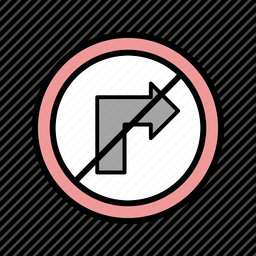 forbidden, no right turn, turn icon