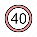 dashboard, limit, speed limit icon