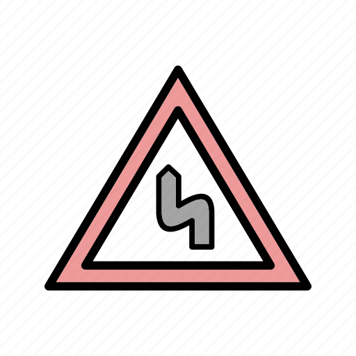 bend, double bend, road sign icon