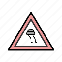 attention, danger, slippery icon