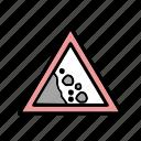 falling, mountain slide, rock, winter icon