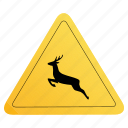 animals, road, sign, yellow icon