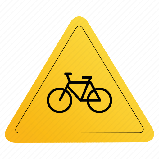 cycling, road, sign, yellow icon