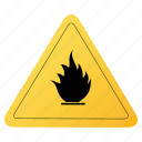 fire, road, sign, yellow icon
