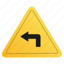 left, road, sign, yellow icon