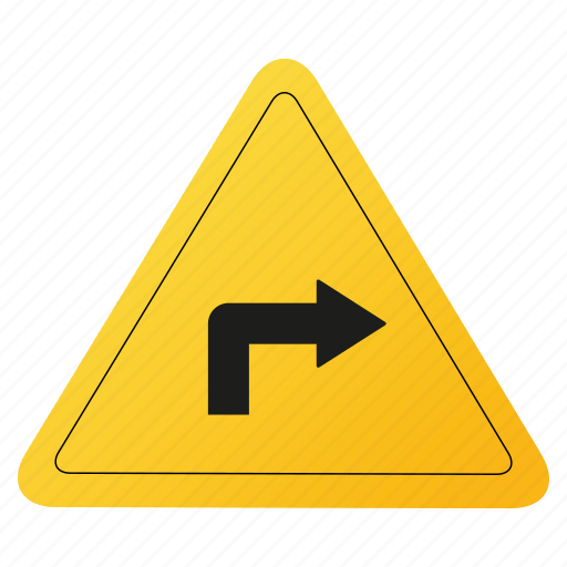 right, road, sign, yellow icon