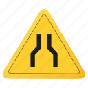 road, sign, single, yellow icon