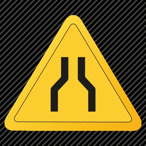 road, sign, single, yellow icon