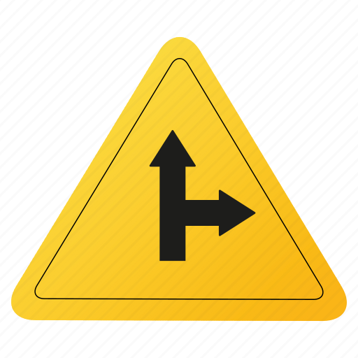 road, sign, two, way, yellow icon