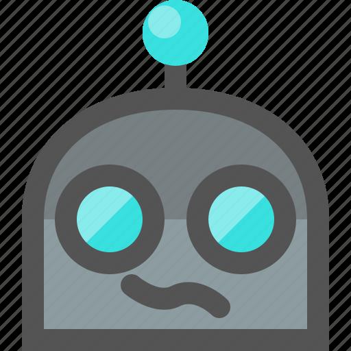 confused, emoji, robot icon