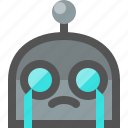 crying, emoji, robot icon