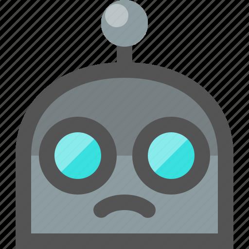emoji, robot, sad icon