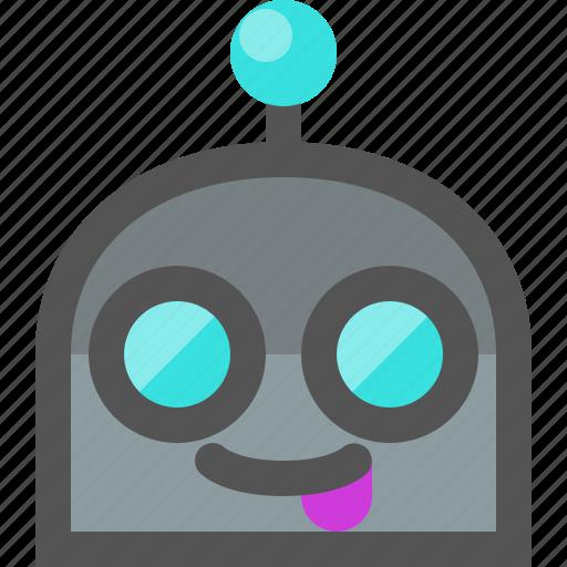 emoji, robot, tongue icon
