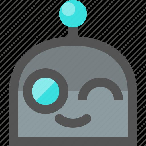 emoji, robot, wink icon