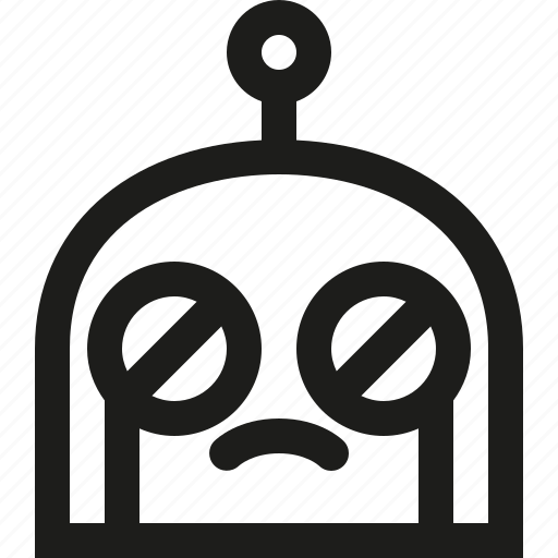 crying, emoji, robot icon