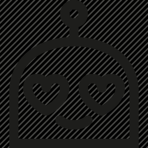 emoji, in, love, robot icon