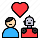 avartar, couple, humanoid, love, man, robot, robotics icon