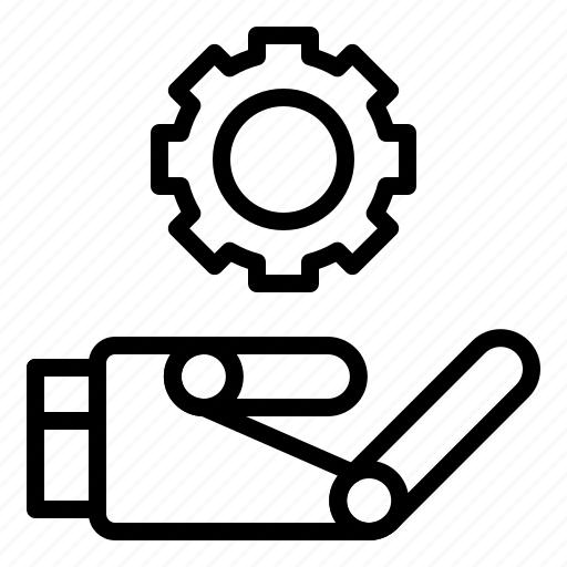 artificial, configuration, hand, machine, robot, setting icon