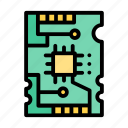 pcb, robotic, colored, mainboard icon